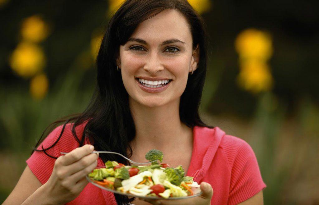 Woman-Happy-Broccoli-Salad-Bowl-Eating-F