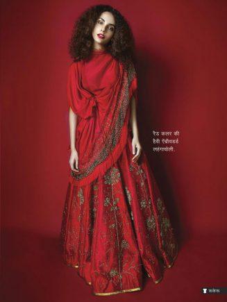 Red color embroidered lahnga choli