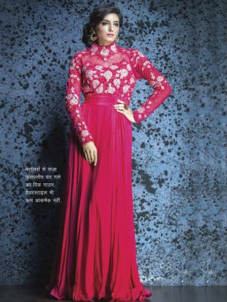 neck throat Pink Gown