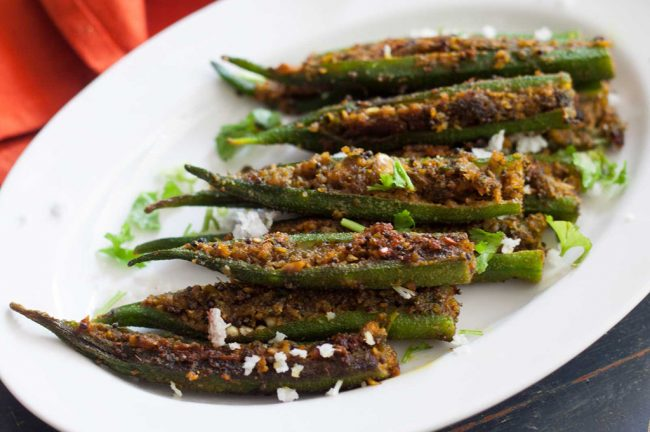 food and recipe stuffed bhindi