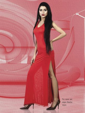 side slited gown of red color