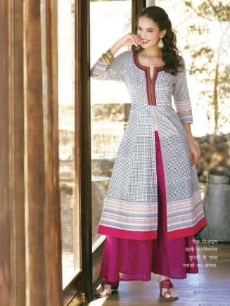 check design front slited Kurtis with palazzo