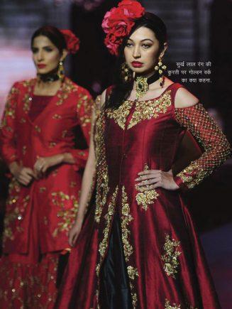 Goldem work on red color kurti