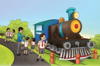 story for kids engine ride
